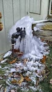 small frozen backflow preventer