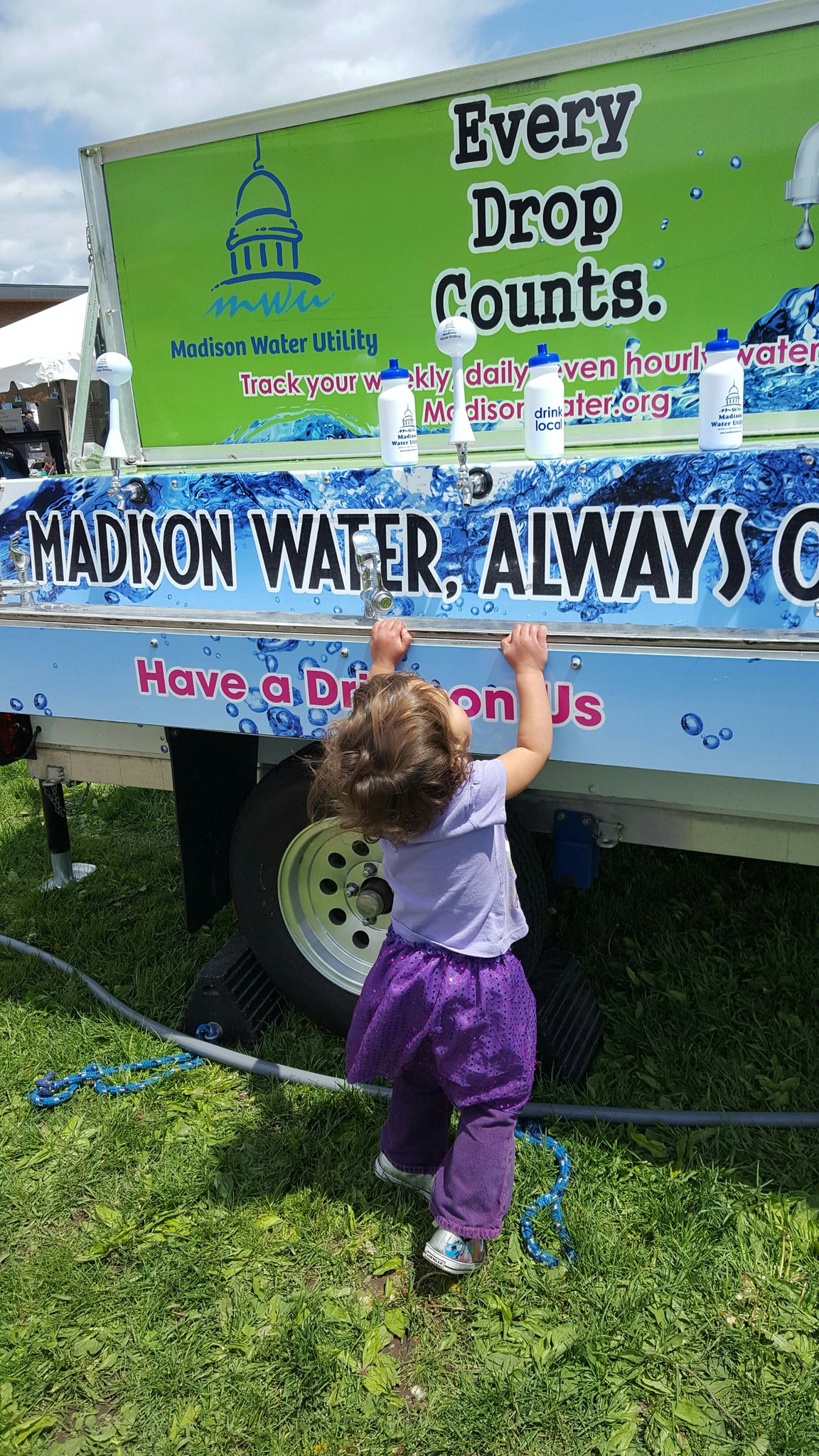 Madison Water Utility girl at wagon