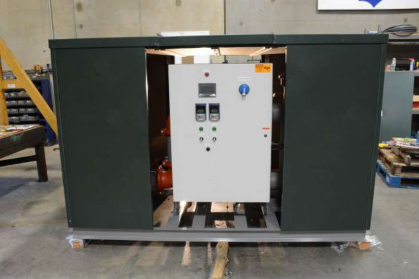 Pump Skid Green Enclosure with Access Panels Removed
